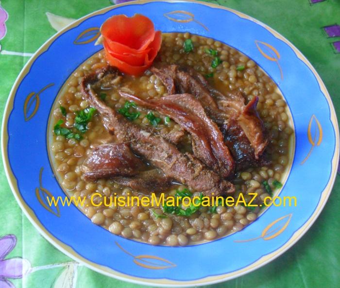 Lentilles la viande s ch e la cuisine marocaine de a z - La cuisine de a a z ...